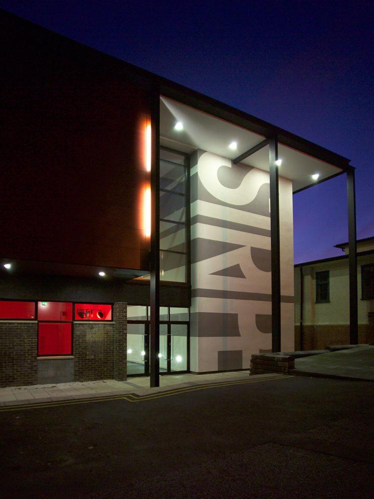 Design Engine Stripe Lecture Theatre external night