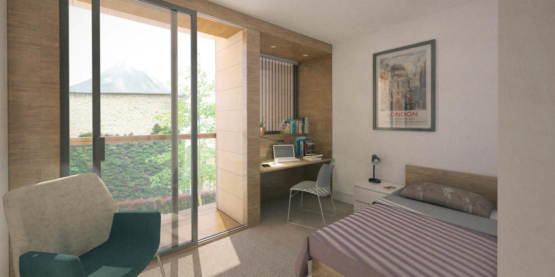 DesignEngine Wadham College Visualisation Interior Bedoom
