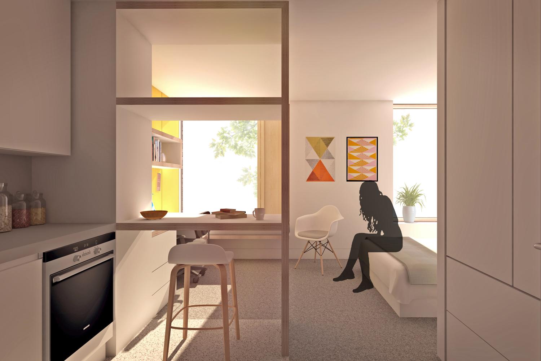 AUB Resi kitchen through bedroom view
