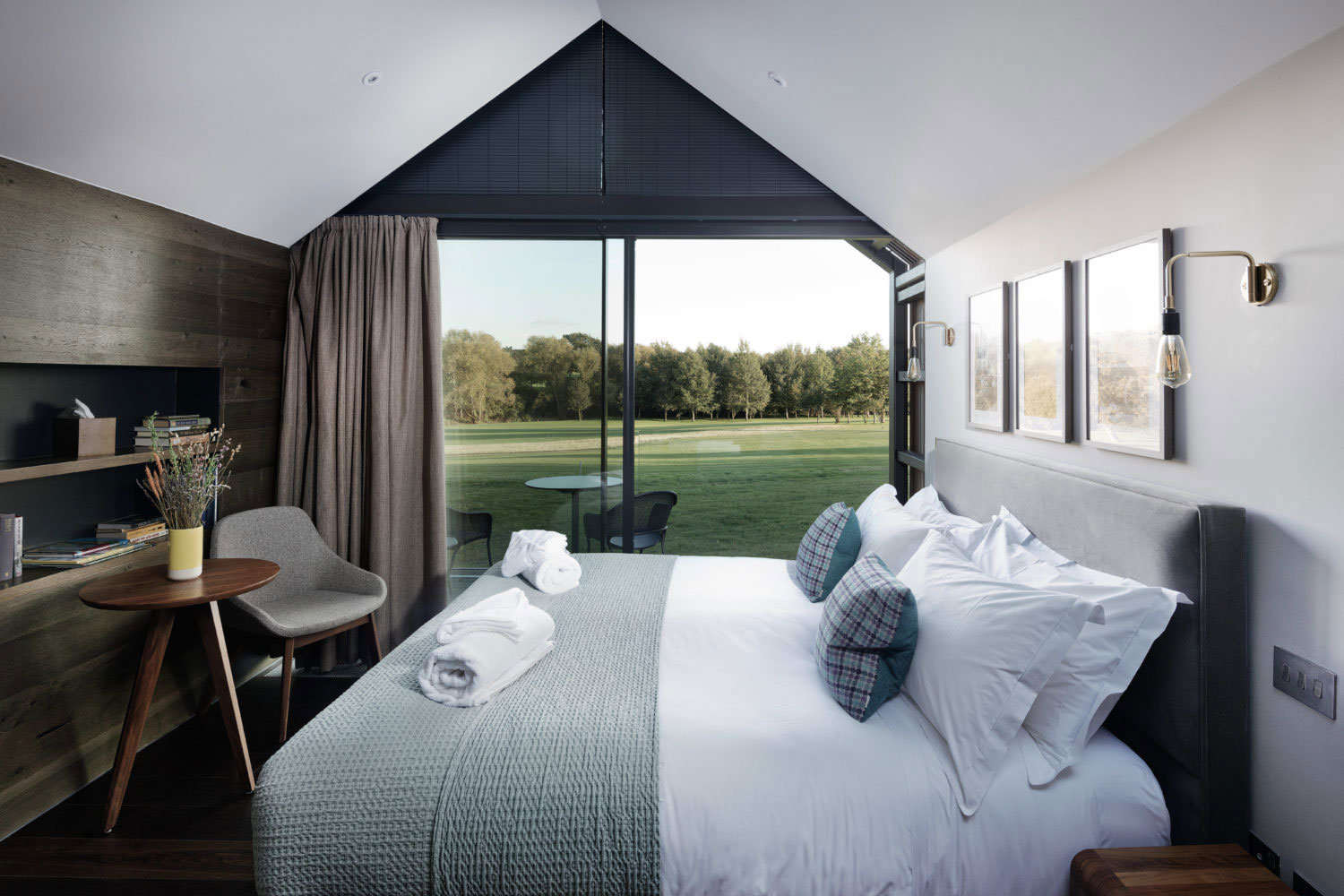 lodge interior with bed