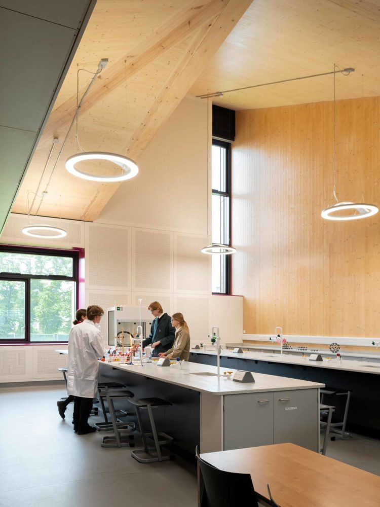 Charterhouse Science laboratories with students