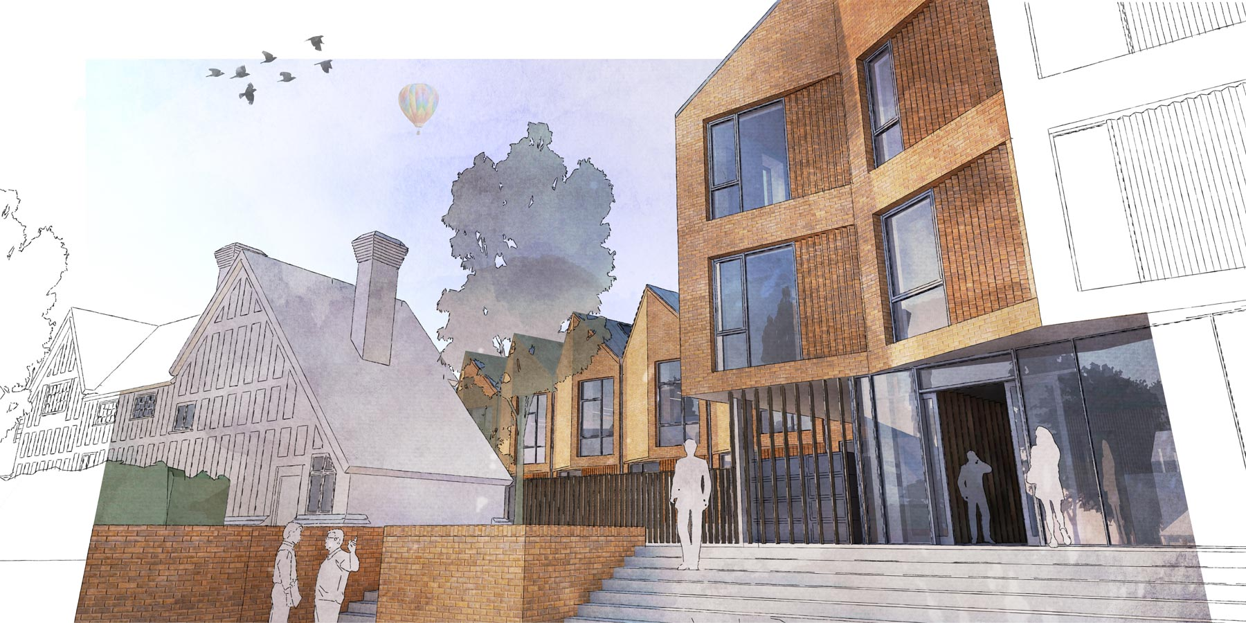 Berkhamsted 6th form corner view illustration