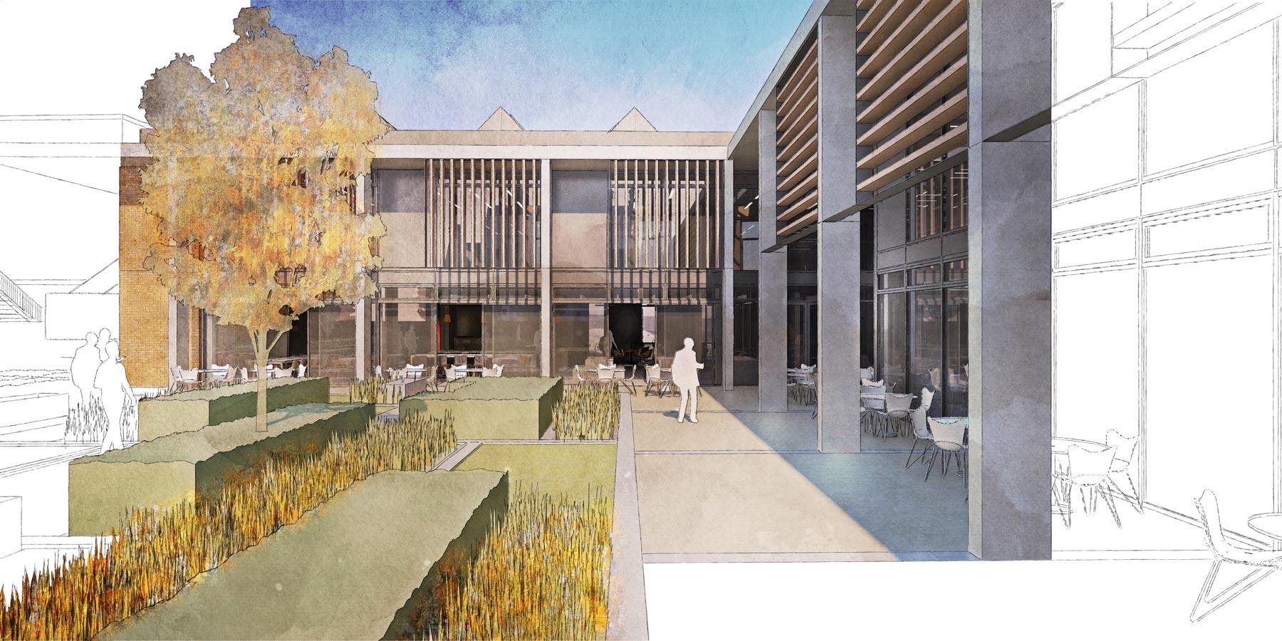 Berkhamsted 6th form Quad illustration