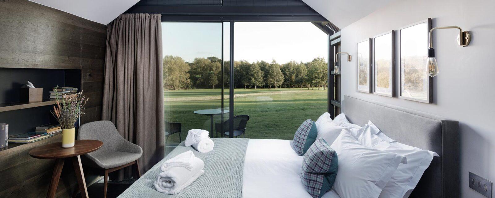 Design Engine Feldon Valley Bedroom Lodge Interior overlooking golf course