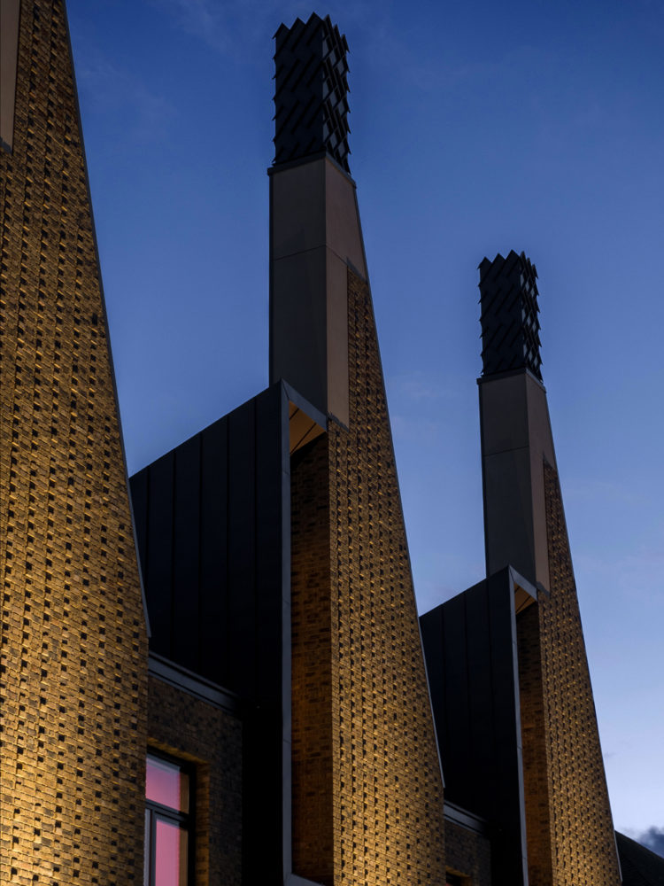 View of Charterhouse Science Chimneys at Dusk