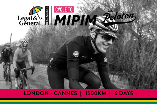 Sponsor Tim O'Rourke as he takes on Legal & General Real Assets Cycle to MIPIM 2019