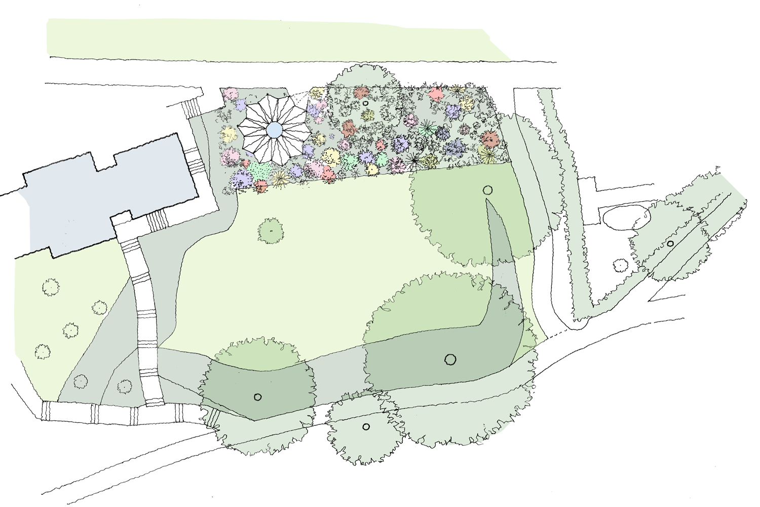 Site plan for the Listening Space amongst flower bed